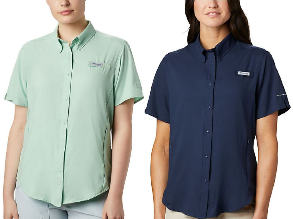 woman wearing light green and dark blue Columbia Women's PFG Tamiami II Short Sleeve Shirt