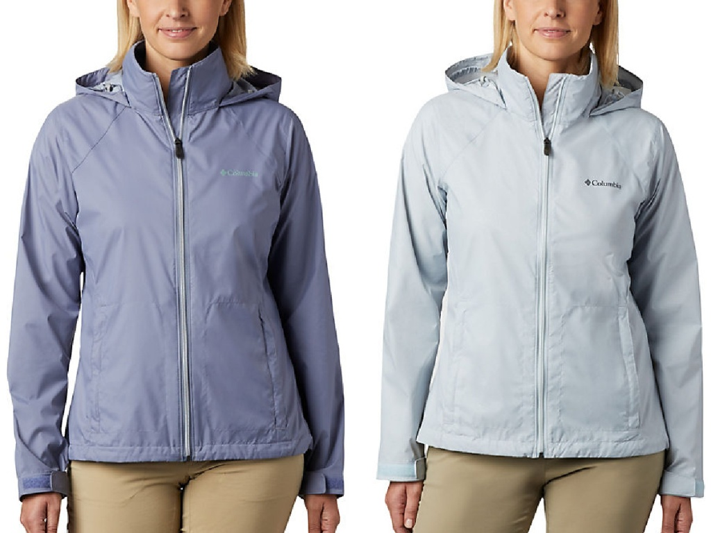 two women wearing periwinkle and light grey colored Columbia Women's Switchback III Jacket
