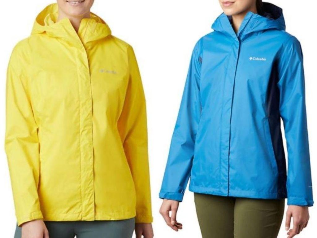 two women wearing rain jackets