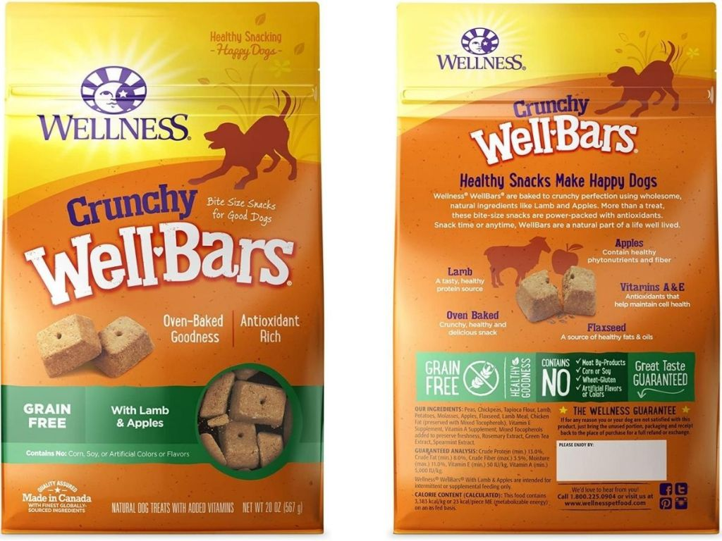 bag of dog treats front and back view