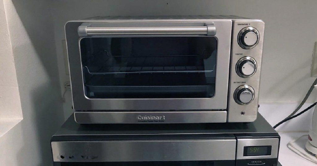 Cuisinart Convection Toaster_Pizza Oven shown on a microwave