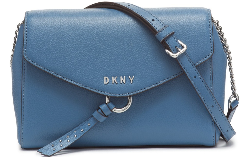 greenish blue crossbody bag with DKNY on front