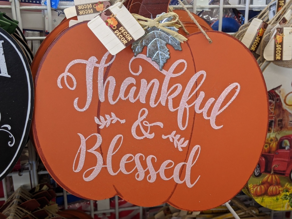 "pumpkin sign saying ""thankful and blessed"" in dollar tree"