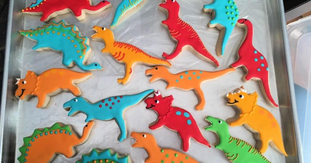 Dinosaur Cookies on baking sheet