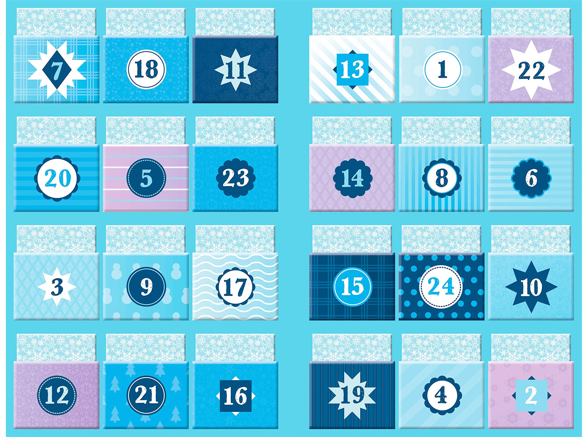 inside view of Disney Frozen storybook advent calendar with numbered pockets containing paperback books