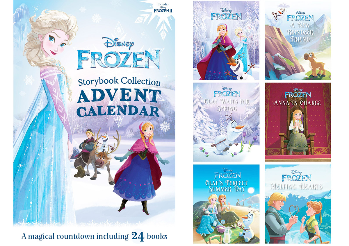 Disney Frozen themed storybook advent calendar with six included books next to it