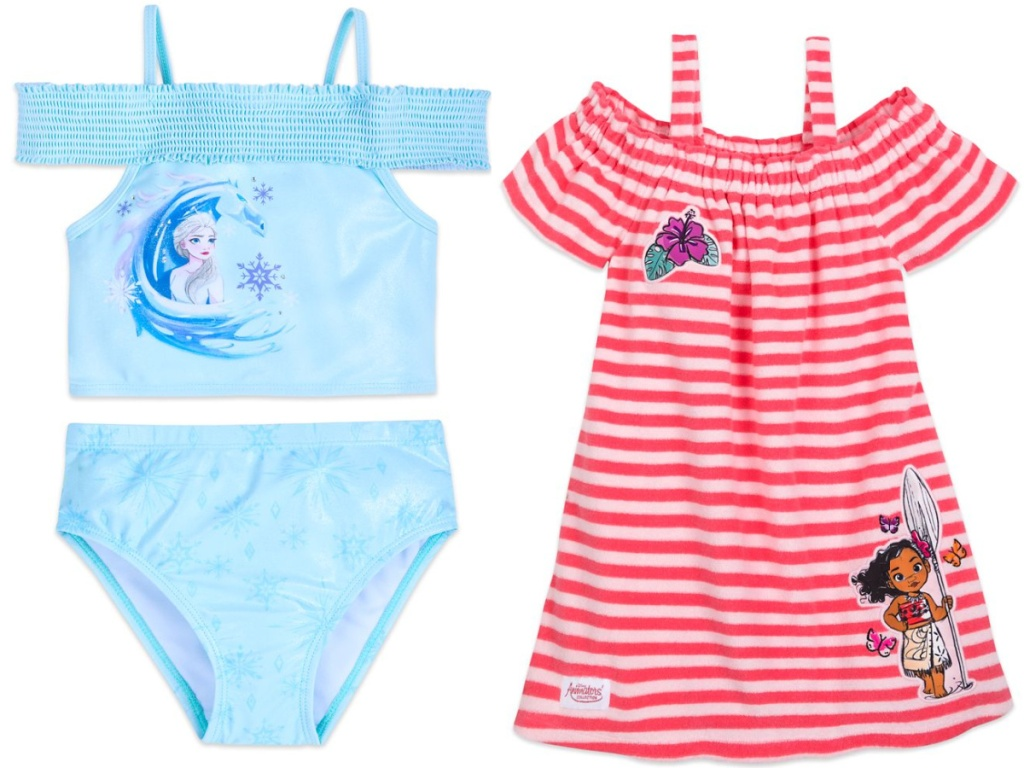 girls frozen two piece swim suit and moana themed cover up