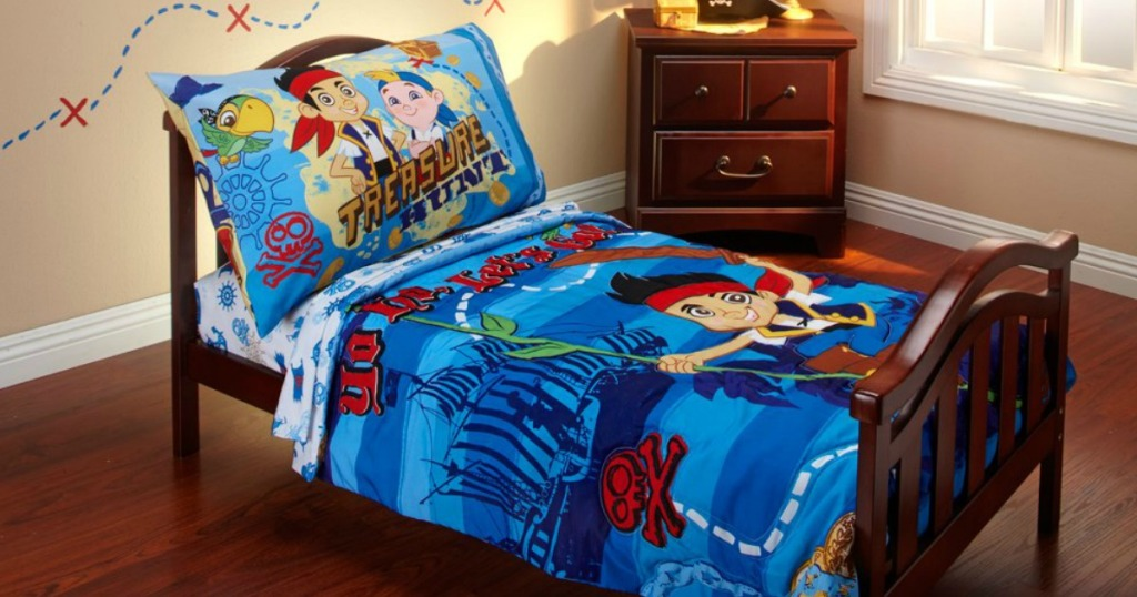 Disney Jake and The Neverland Pirates 4 Piece Toddler Bedding Set on toddler bed