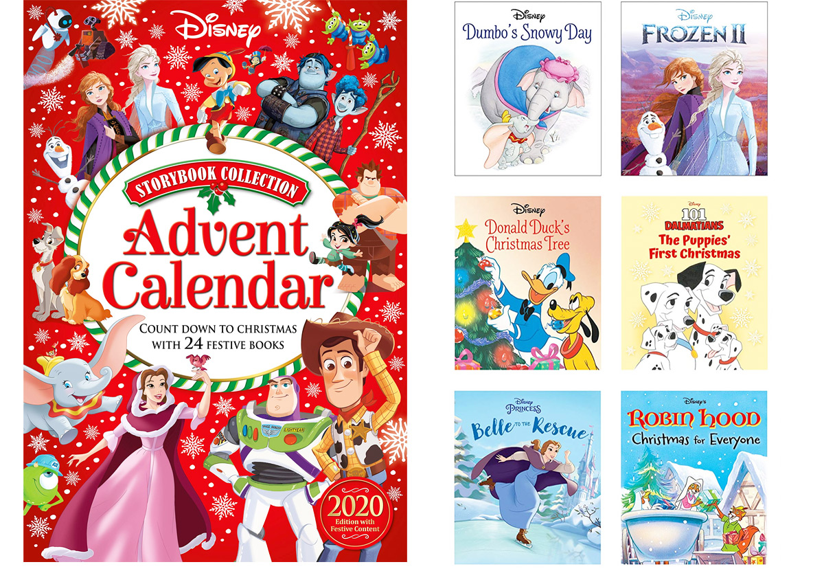 Disney storybook advent calendar with six included books next to it
