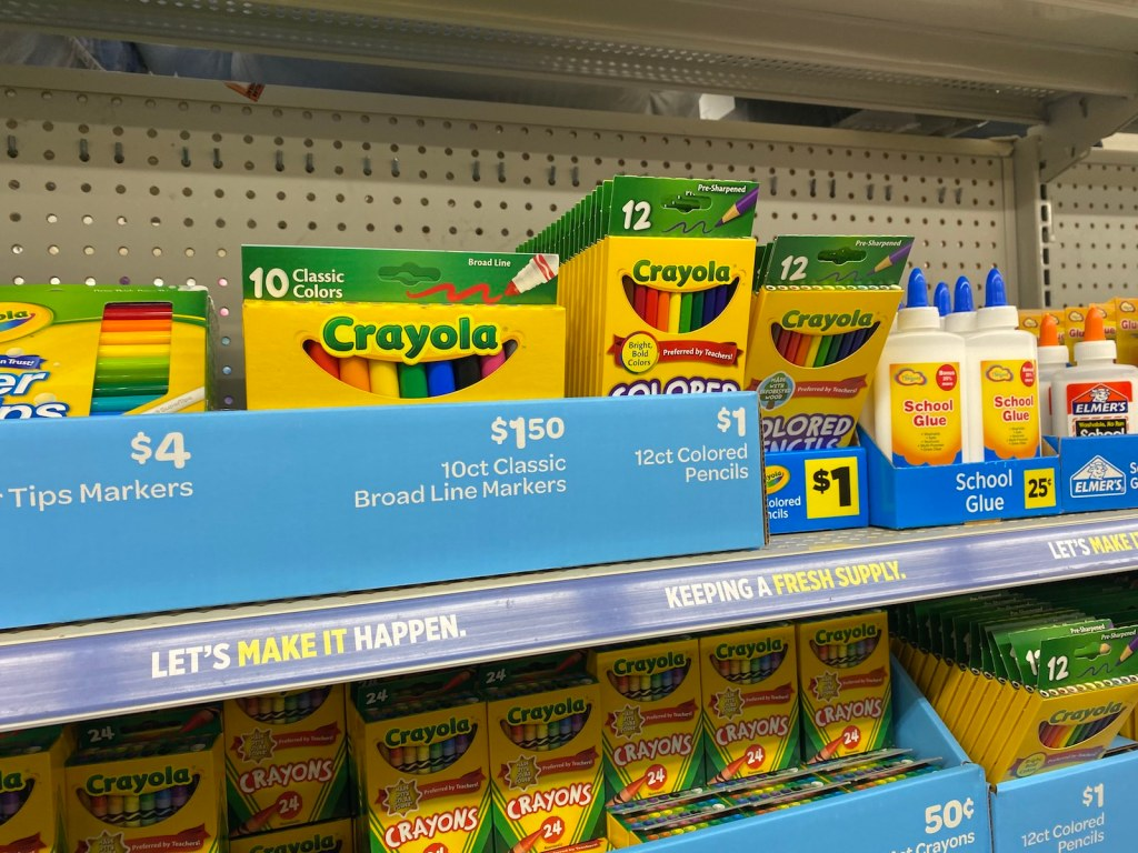 Dollar General School Supply Aisle with crayons