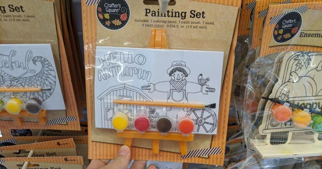 tiny art set with paint, brush and a mini easel