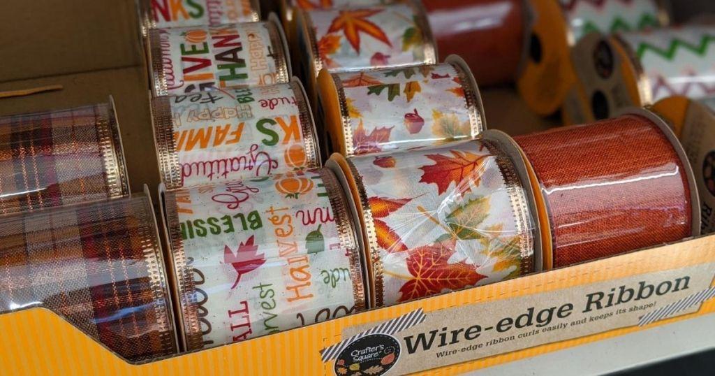 box of wired ribbon onstore shelf