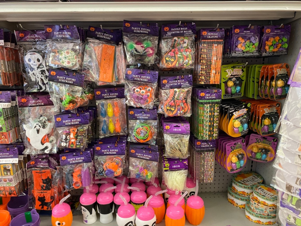 display of party favors at Dollar Tree