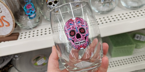 Day of the Dead & Halloween Stemless Wine Glasses Only $1 at Dollar Tree