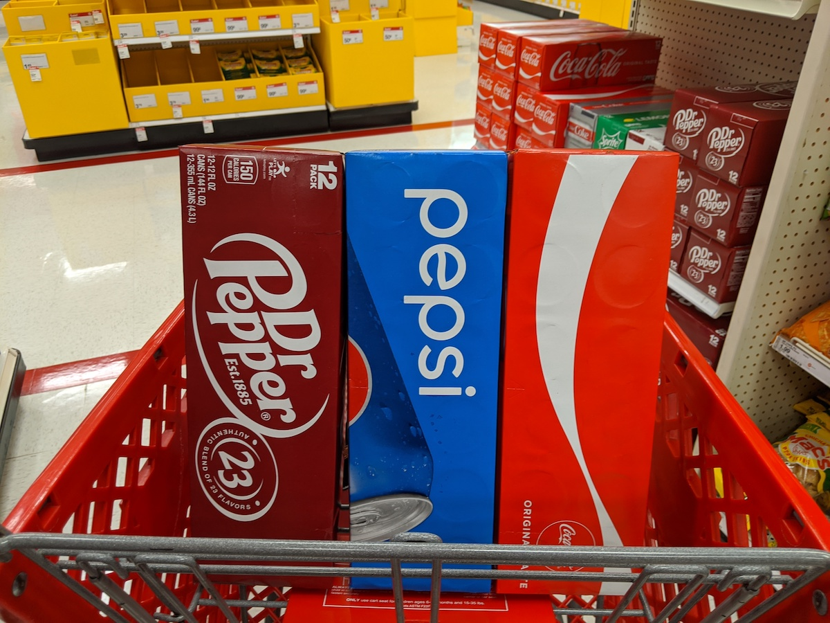 Dr Pepper Pepsi Coke 12 PAcks in cart at target