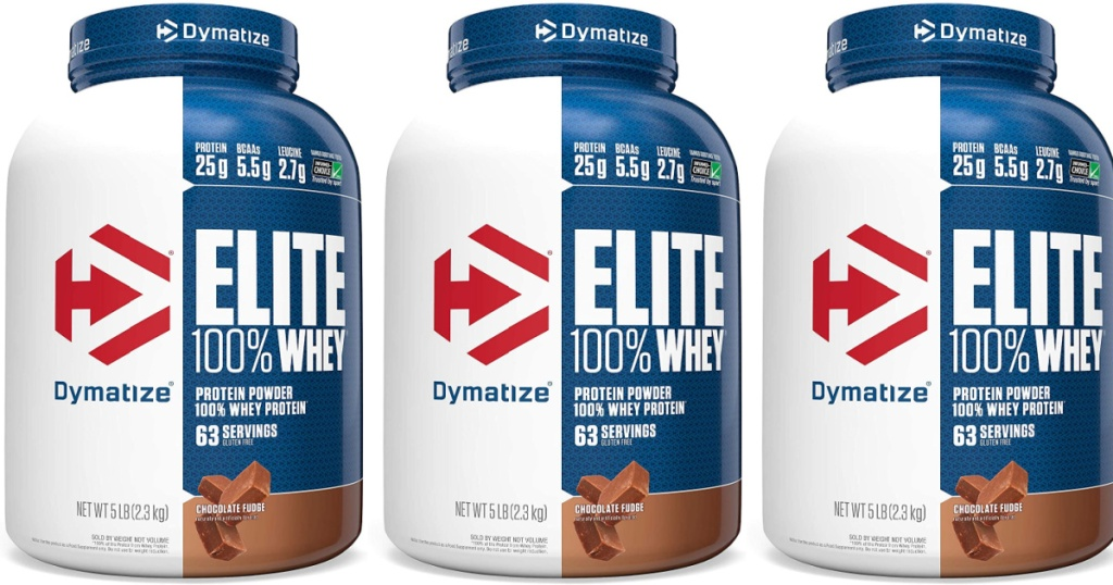 3 big containers of Dymatize Elite Choclate Fudge Containers