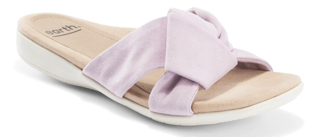 women's sandal with lilac colored suede straps that knot in the middle