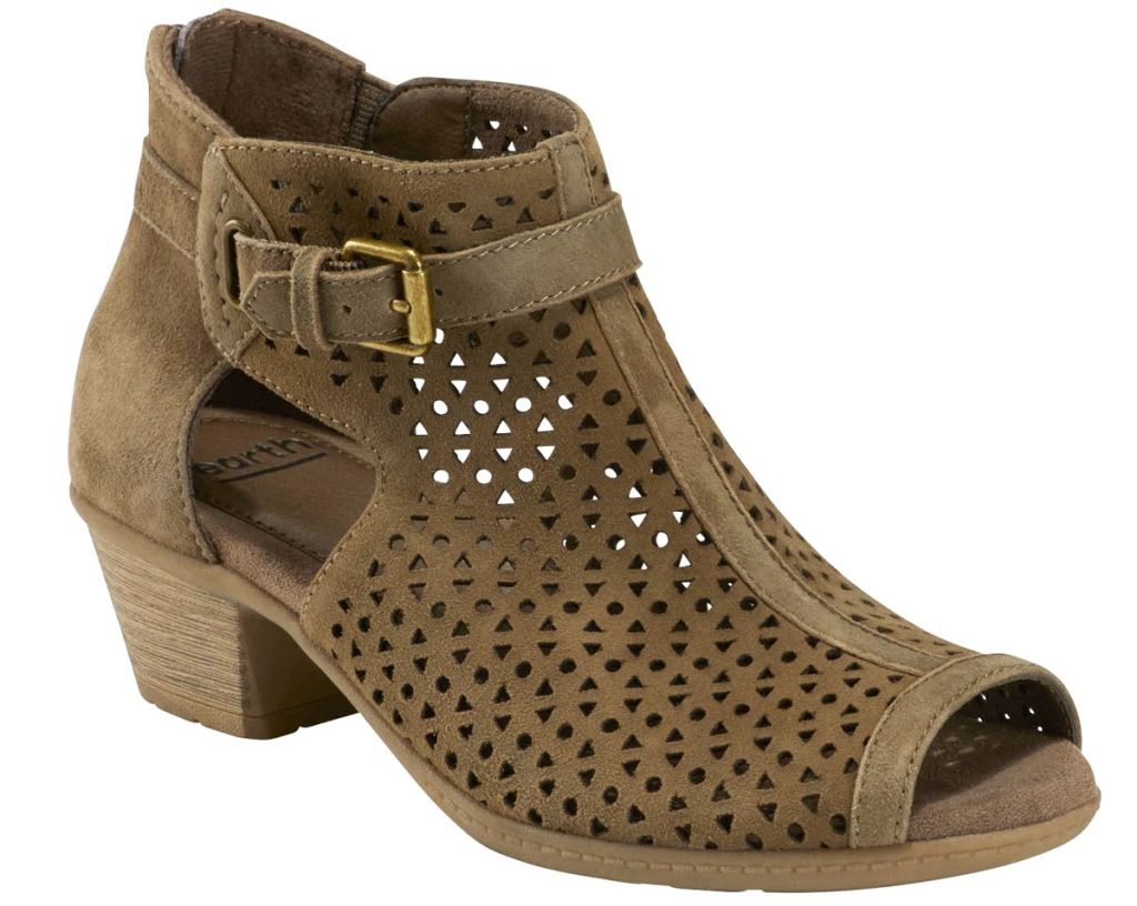 women's brown cut-out bootie with small buckle at ankle and block heel
