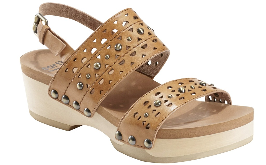 women's brown leather platform sandal with cut outs and studs in straps