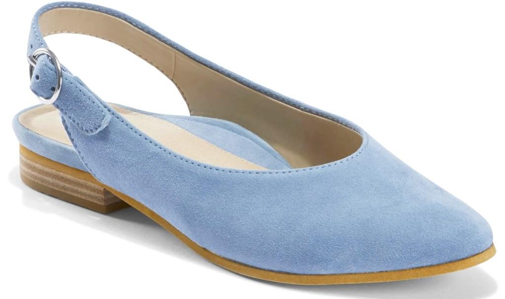 light blue sling-back women's flat
