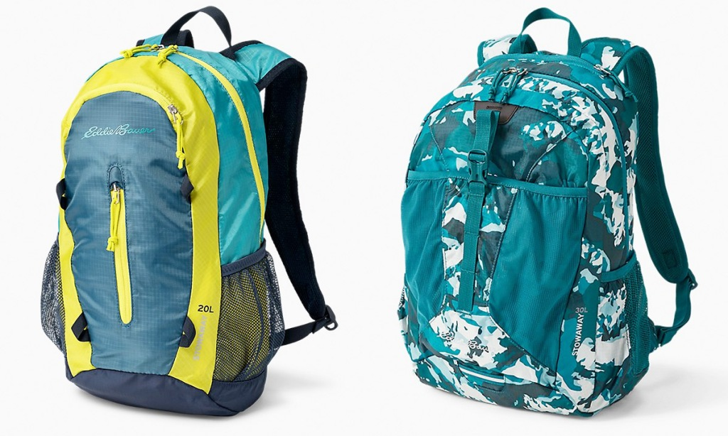 two packable backpacks in a blue and yellow theme and blue and white camo print
