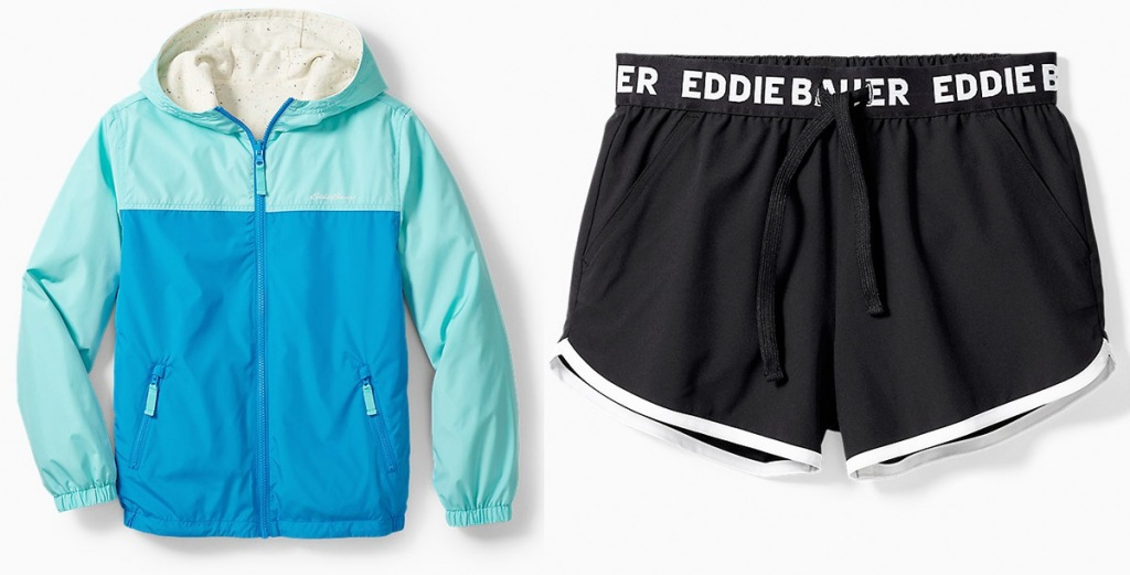blue and light blue color block kids winter jacket nd pair of black girls shorts that say eddie bauer on waistband