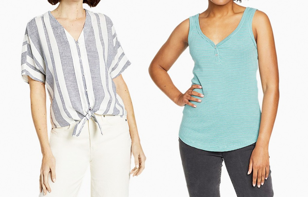 two women modeling a white and light blue tie front shirt and blue striped tank top