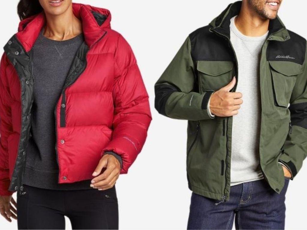women and man wearing winter jackets
