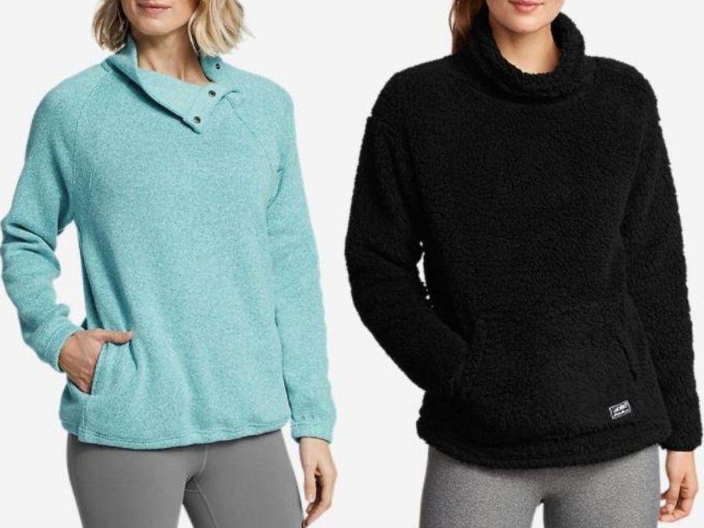 two women wearing pullovers