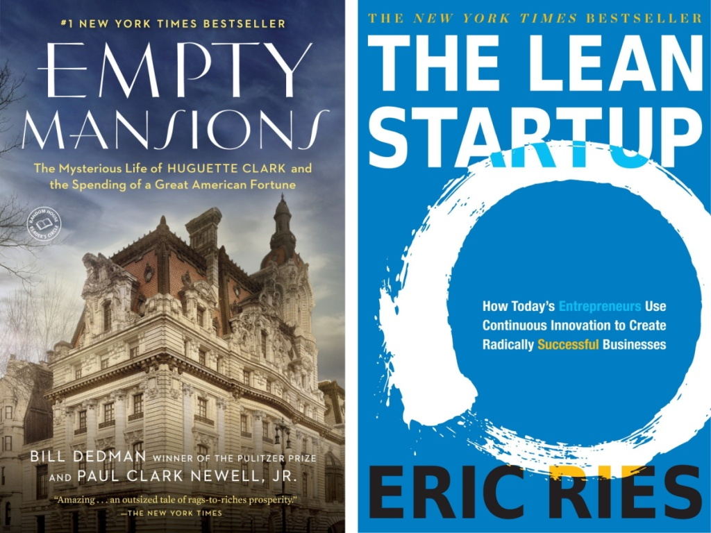 book covers of Empty Mansions and the lean startup book covers