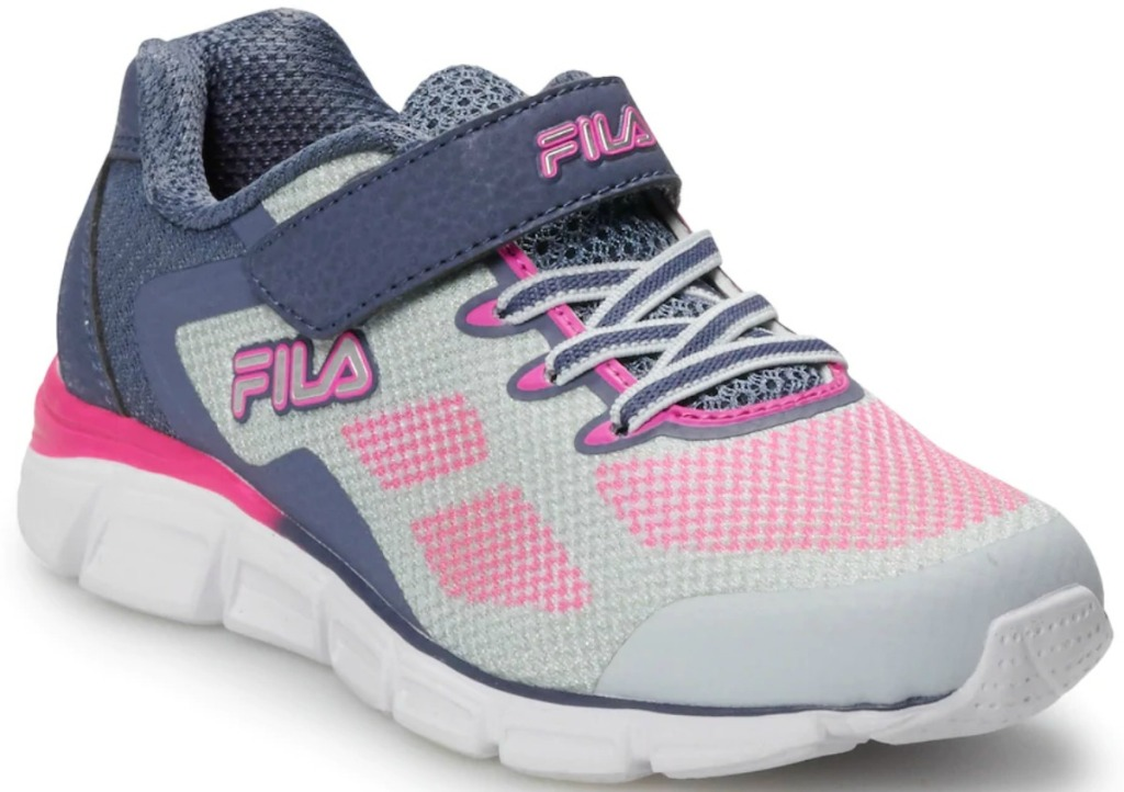 Girls sneaker in gray and pink with velcro strap