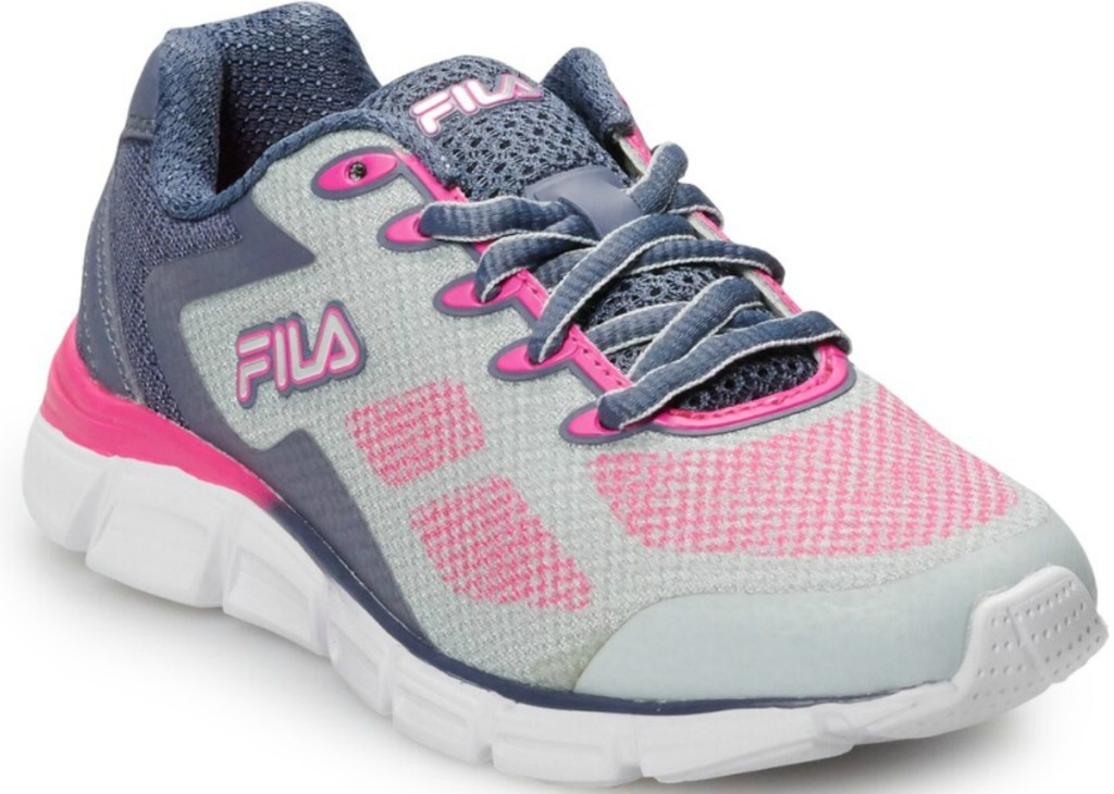 Girls athletic sneakers in light gray and pink