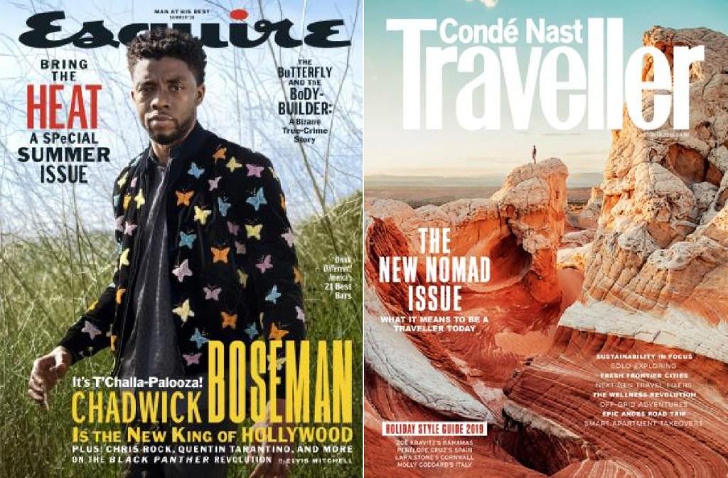 esquire magazine cover and conde nast traveler magazine cover