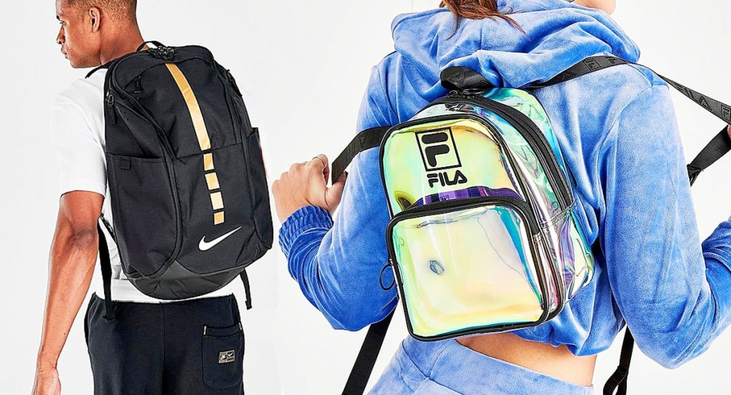 man wearing a black Nike backpack and woman wearing a holographic Fila brand mini backpack