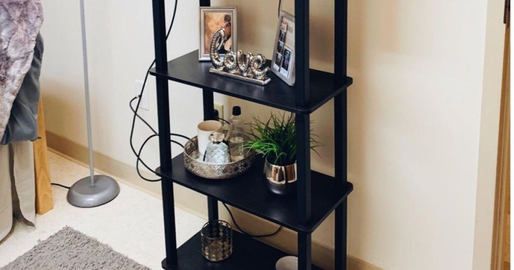 4 tier bookshelf with TV on top shelf