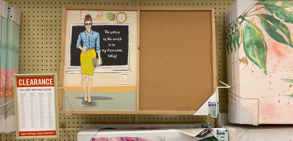 Future Of The World Corkboard on shelf at Hobby Lobby