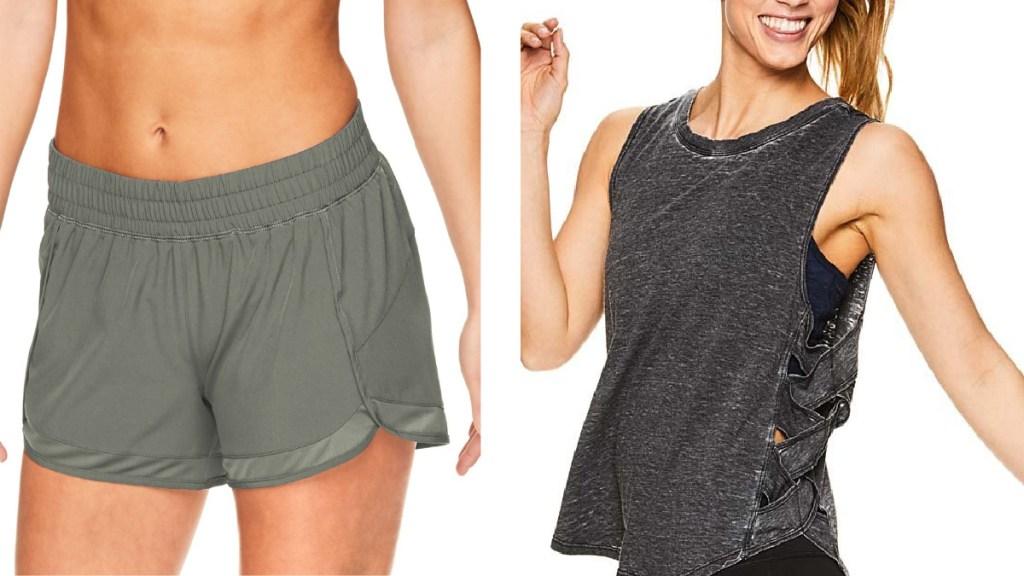 green shorts and gray tank
