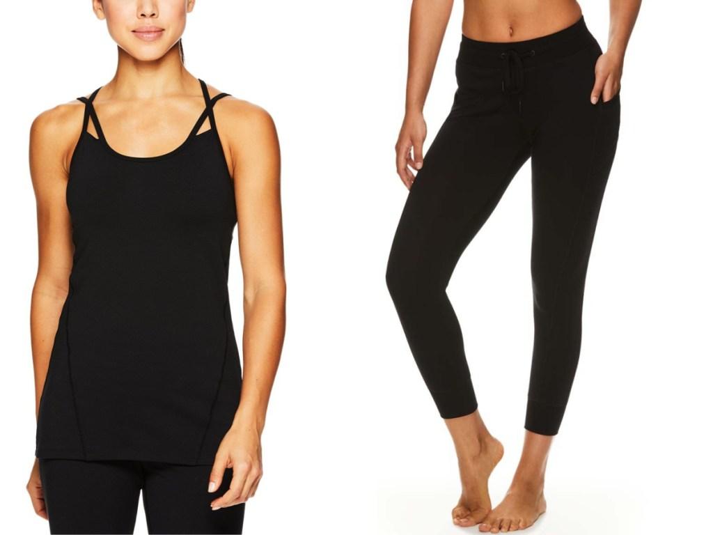 black tank top and black leggings