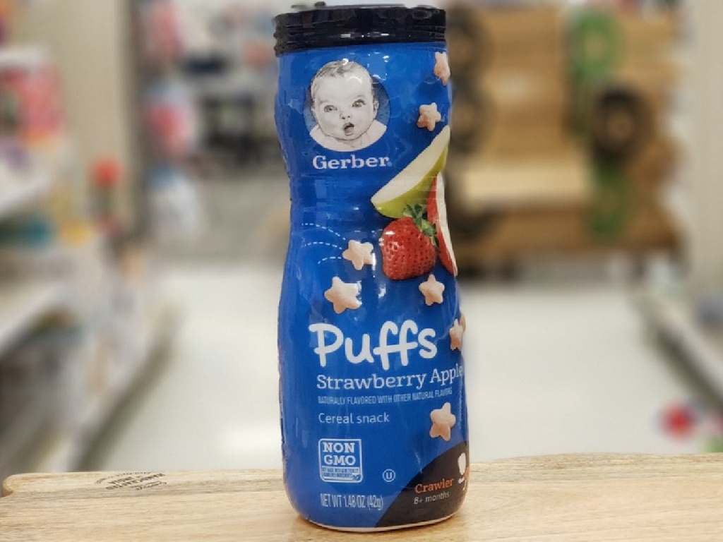 kids puff cereal snacks in store