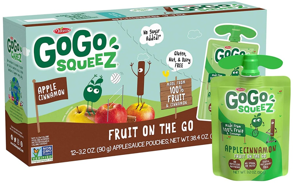 blue and brown box of go-go squeez apple sauce with green pouch in apple cinnamon flavor next to it
