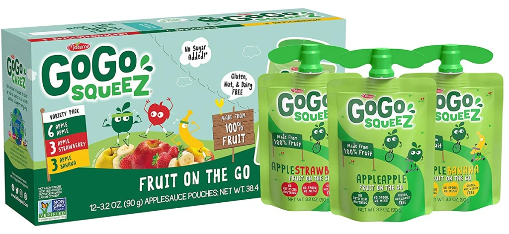 variety pack box of go-go squeez apple sauces with three green pouches next to it in strawberry, apple, and banana flavors