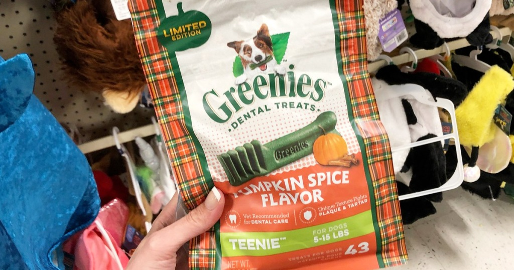 person holding up a bag of pumpkin spice flavored Greenies dog treats