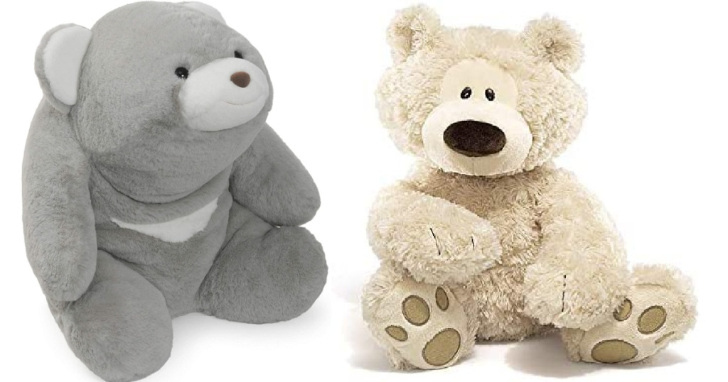 two gund plush toys sitting side by side