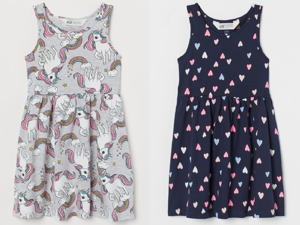 grey with unicorns and navy with colorful hearts H&M girl dresses