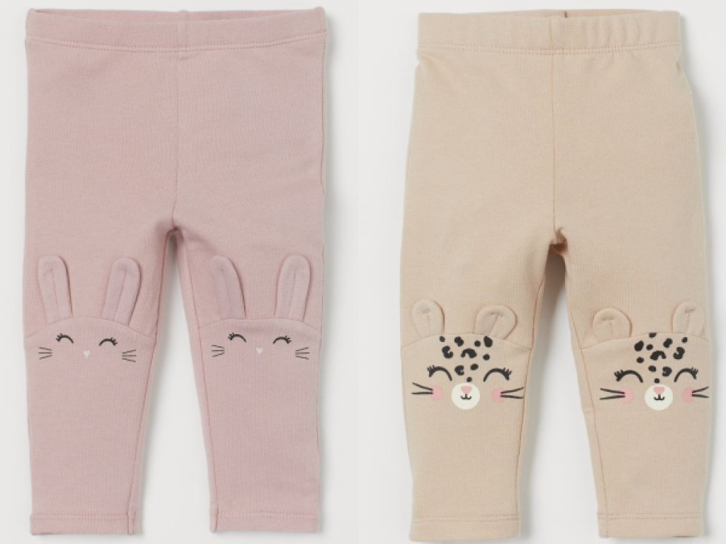 pink bunny and beige leopard H&M Leggings