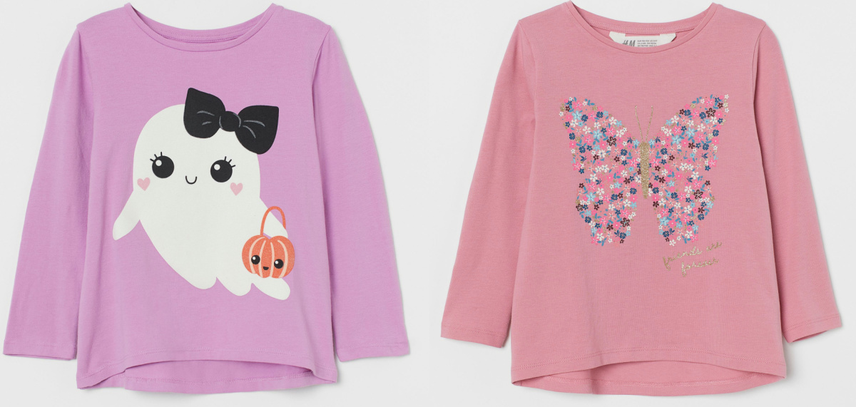 Pink butterfly and lavendar ghost long sleeve