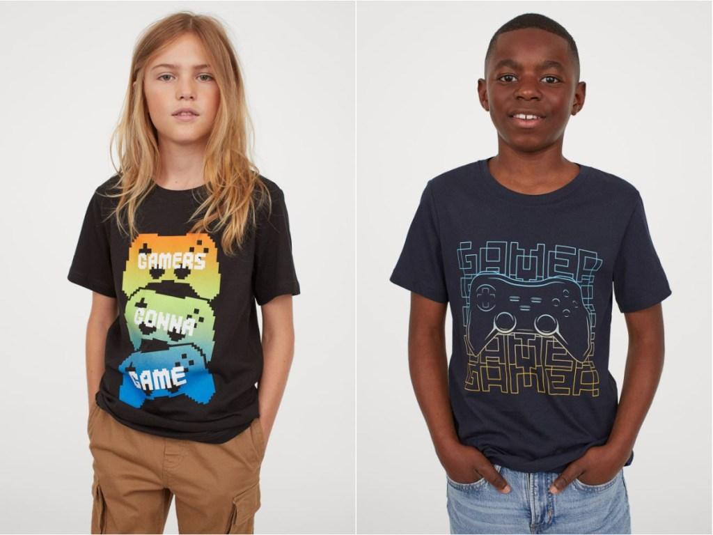 two boys wearing h&m printed design tshirts