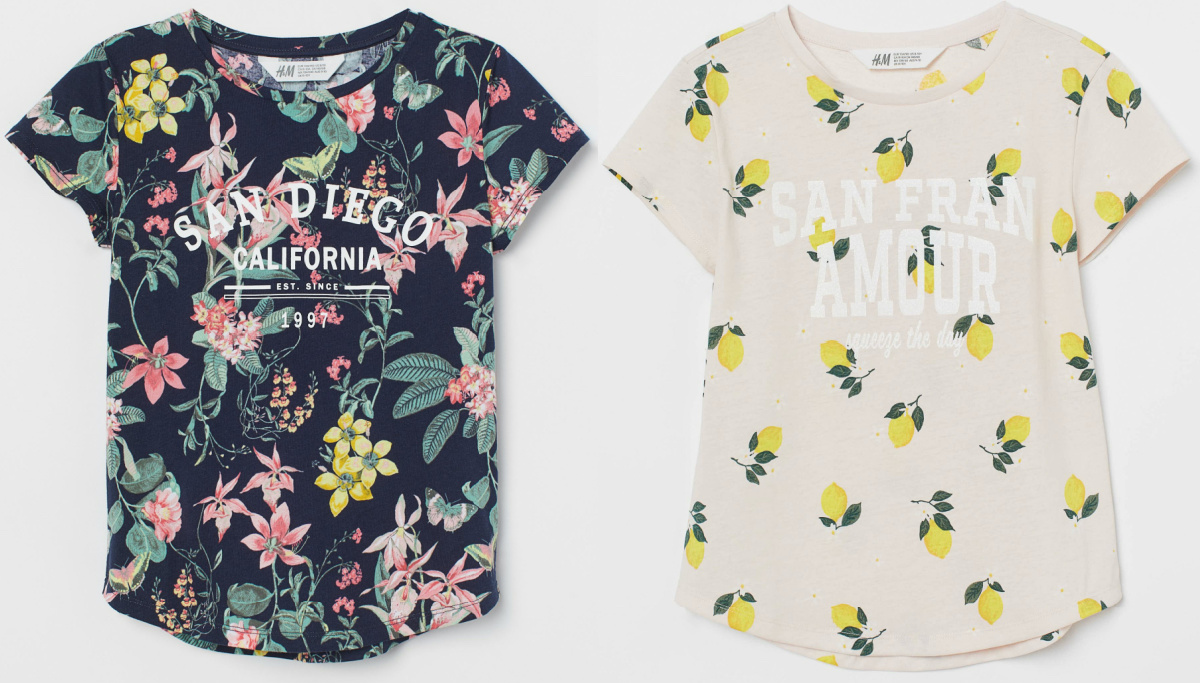 two kids h&m t-shirts with lemons and flowers