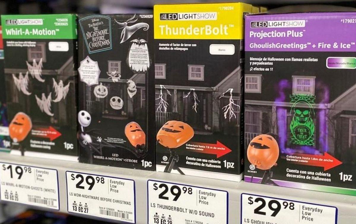shelf of light show projectors at store