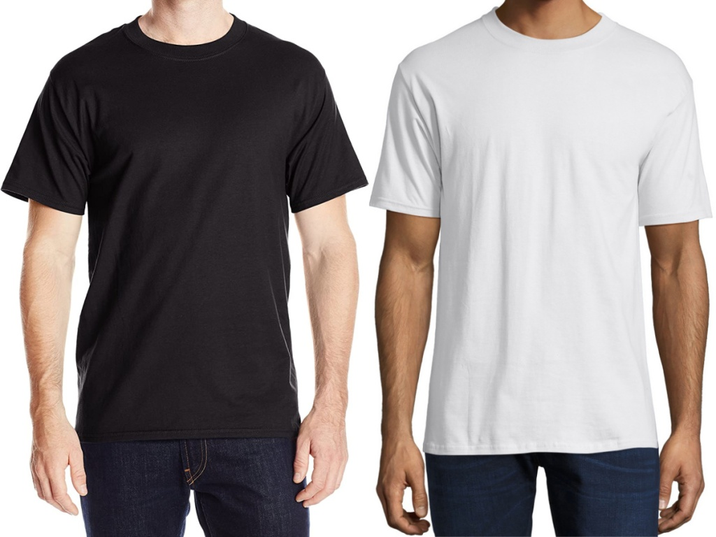 man in black t-shirt and man in white t-shirt